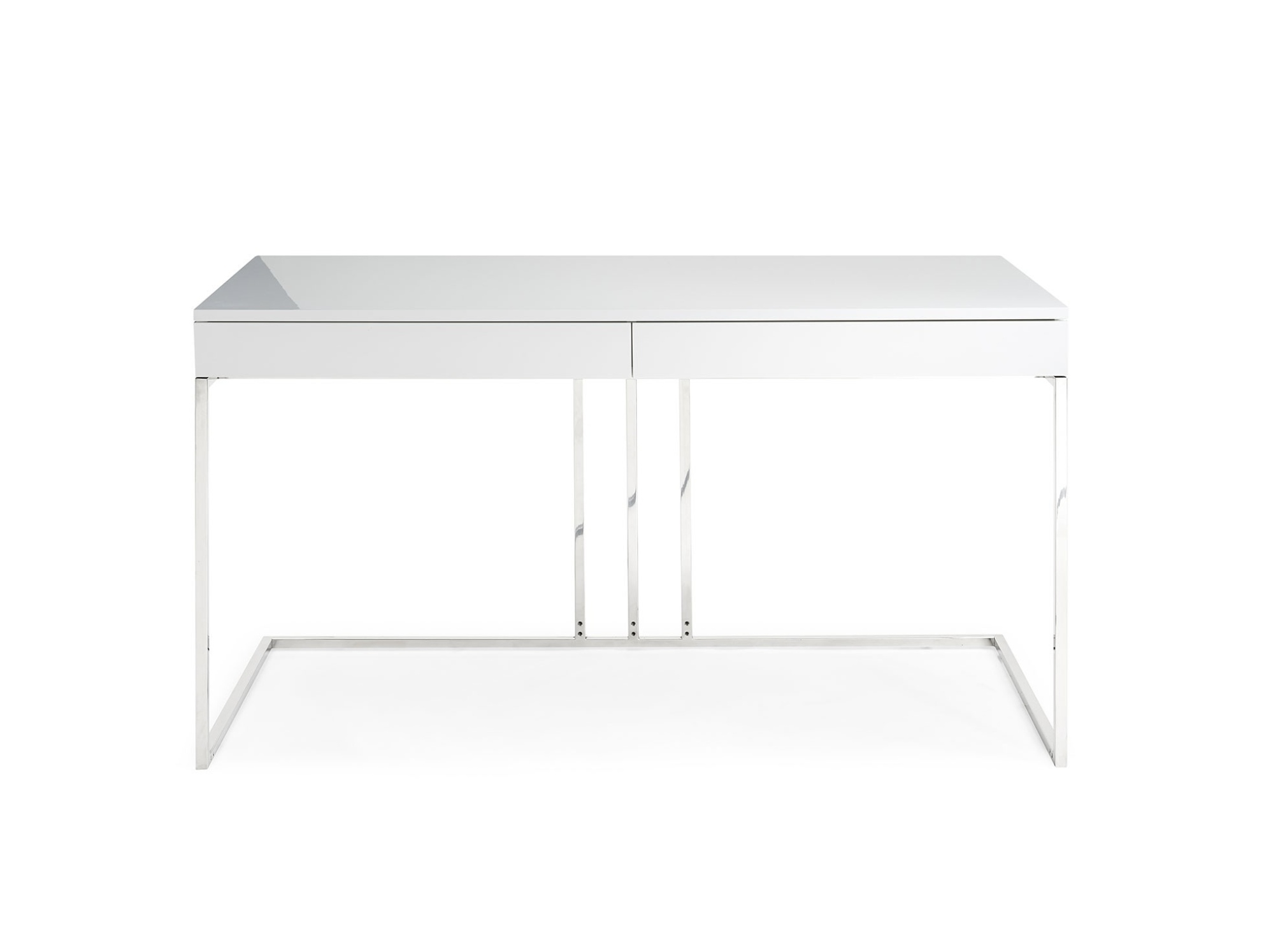 Elite High Gloss White Lacquer Desk with Stainless Steel Base - Click Image to Close