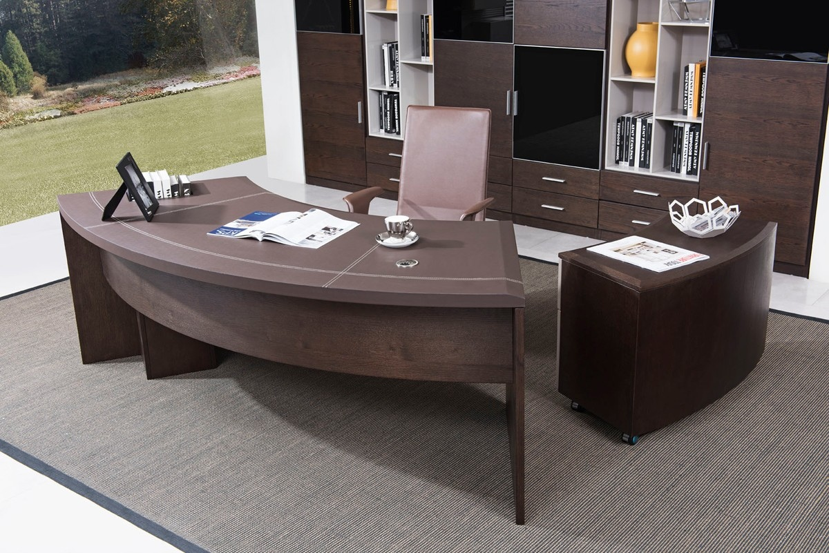 Modern Office Desk: Modern Executive Office Desk With Cabinet In Oak Wood