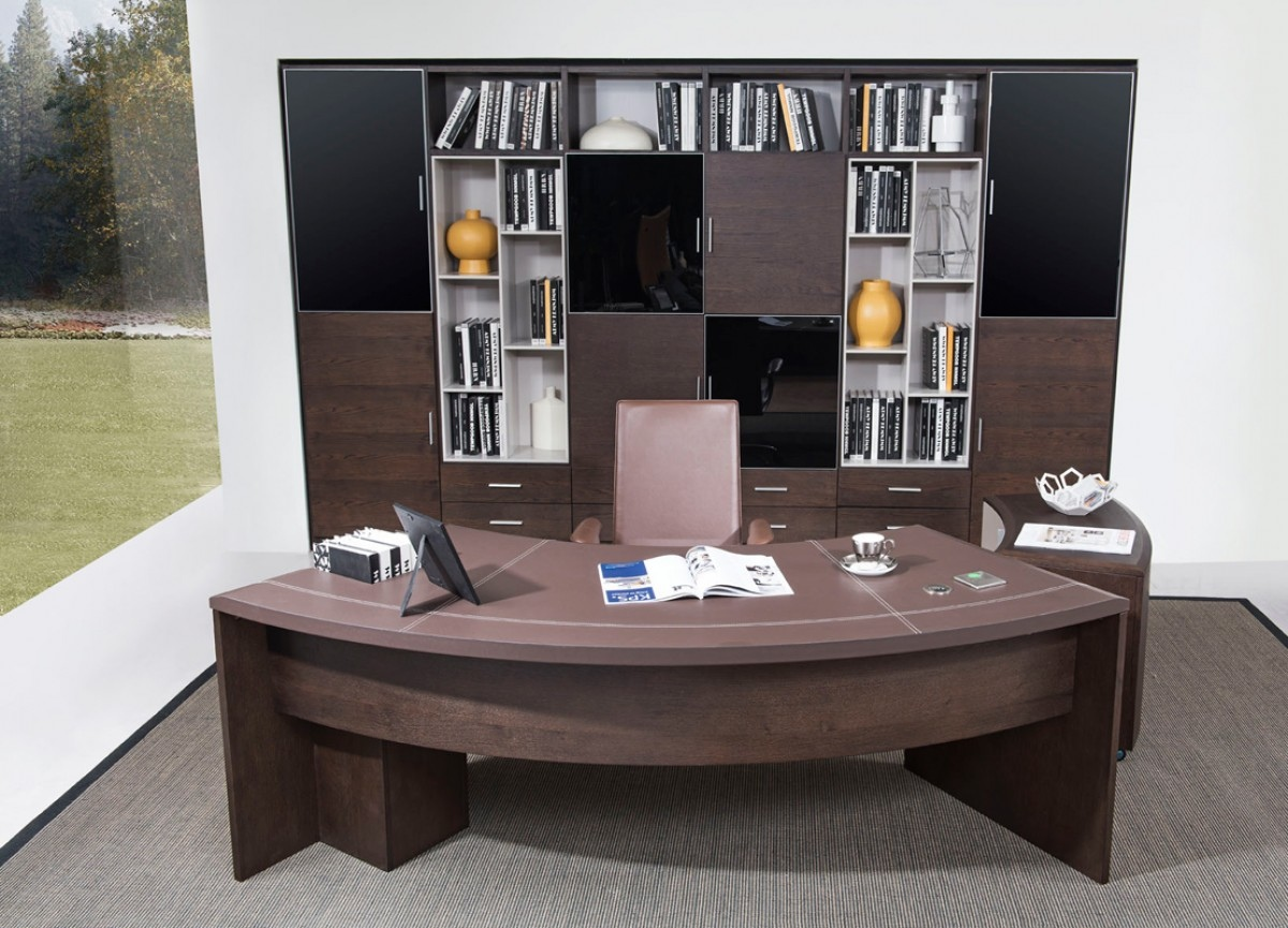 Rustic Americana Hardwood Executive Desk Home Office: Modern Executive Office Desk With Cabinet In Oak Wood