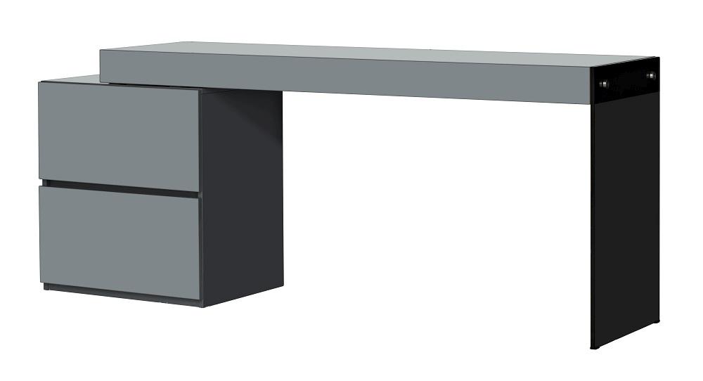 Two Drawer Grey High Gloss Office Desk With Gl Leg Virginia Beach