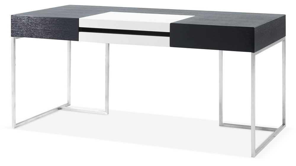 Contemporary dark oak office desk with white accent austin for Office design 101