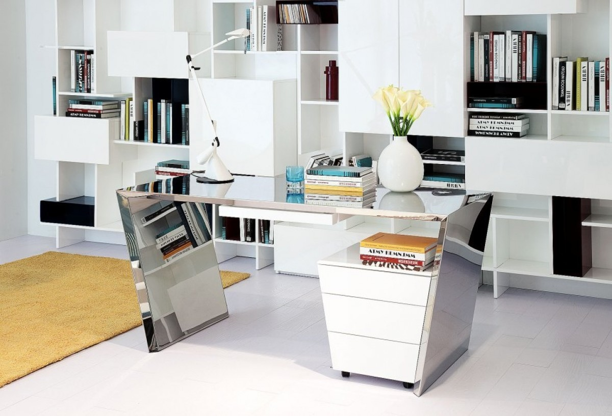 Modern desk furniture with reflective surfaces los angeles for White modern office furniture