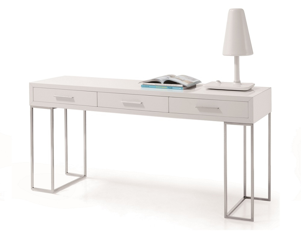 White 3-Drawer Office Desk with Chrome Legs
