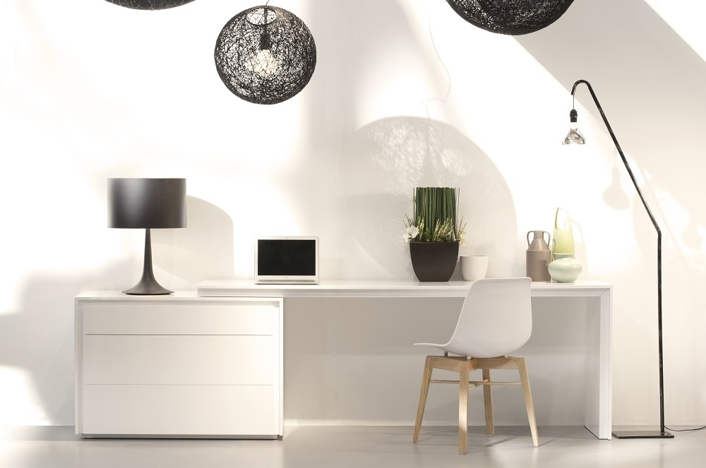 Reversible White Office Desk With Three Drawers Tulsa Oklahoma J M Tre