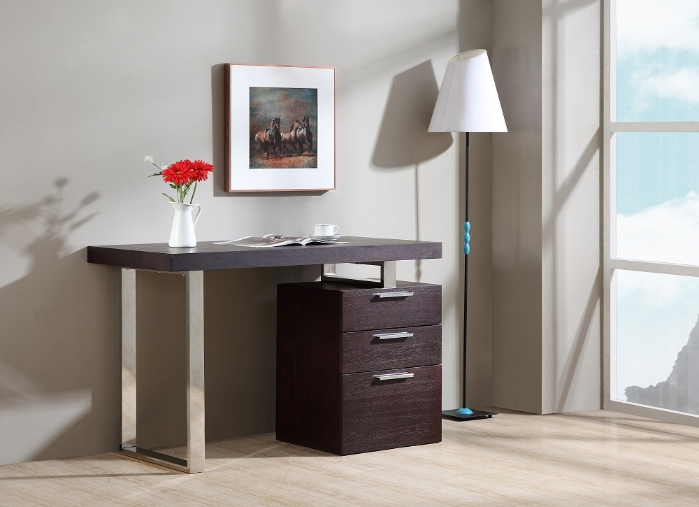 Contemporary Three Drawer Office Desk With Multiple