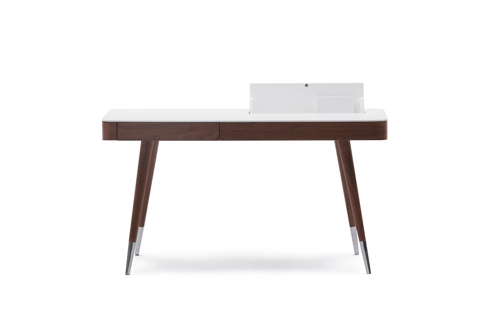 Brown wood veneer office desk with matte white top for Modern furniture nyc