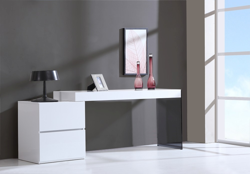 Modern Office Desk: Contemporary Two Drawer White High Gloss Office Desk With
