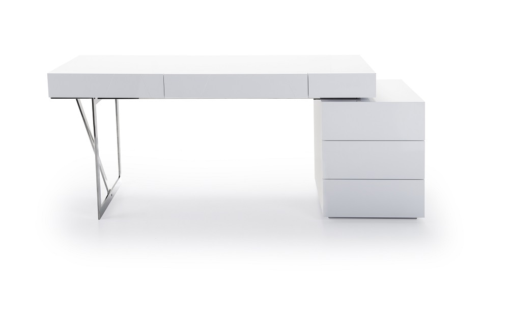 White Contemporary Office Desk with Storage Oakland