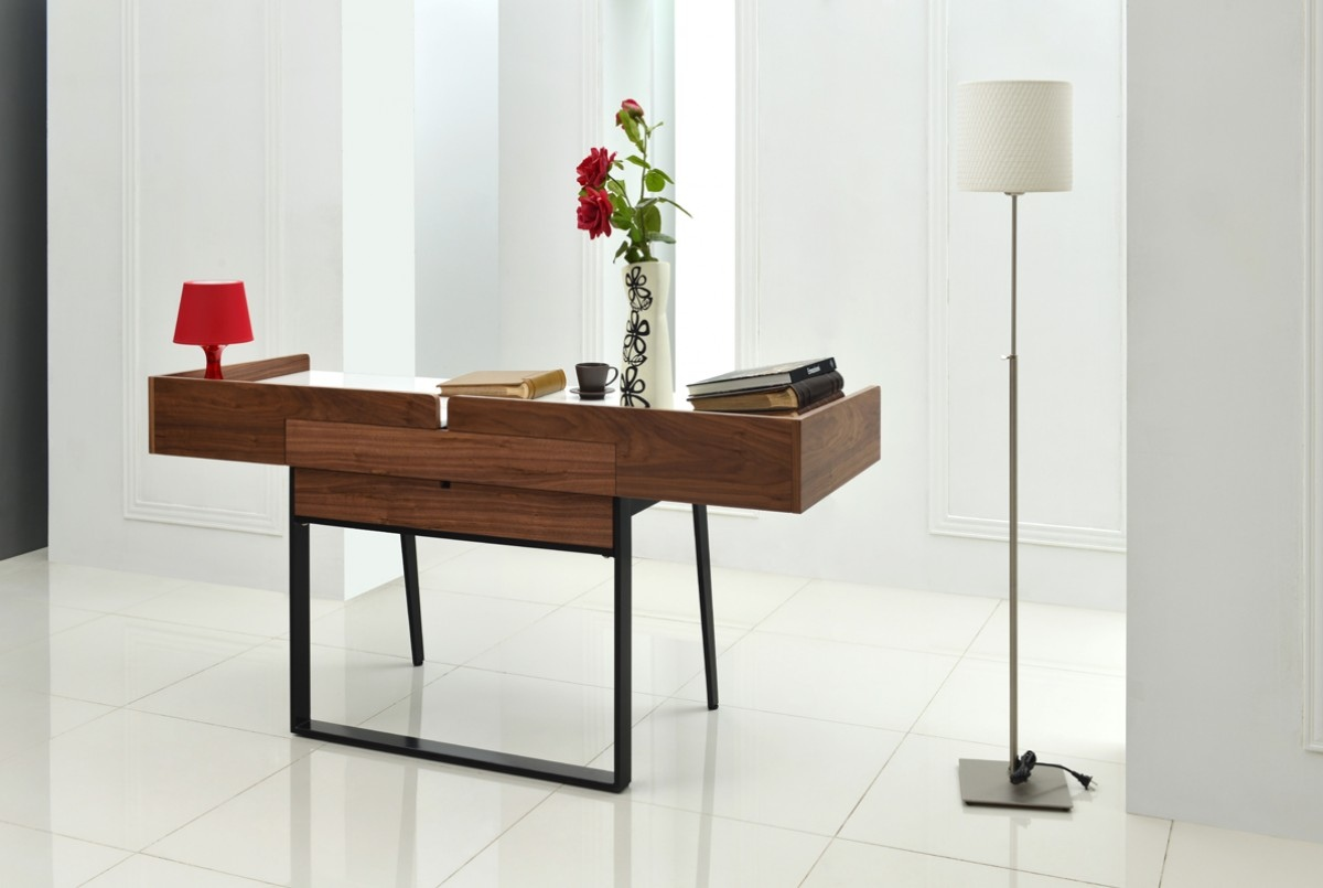 White and Walnut Modern Writing Office Desk - Click Image to Close