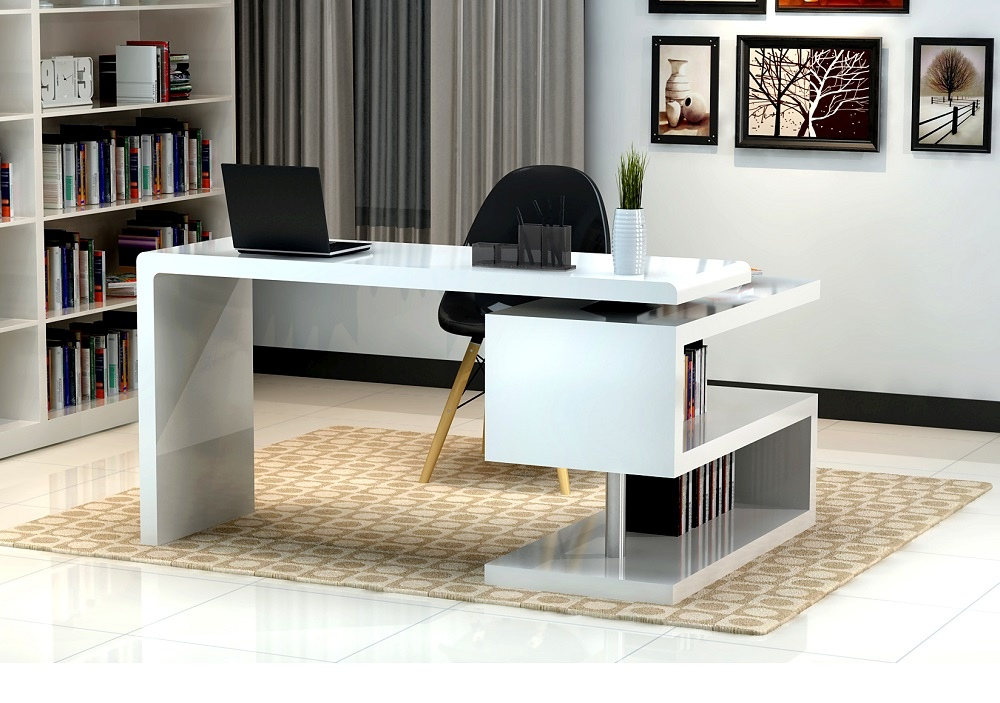 white glossy finished office desk with s shaped bookcase