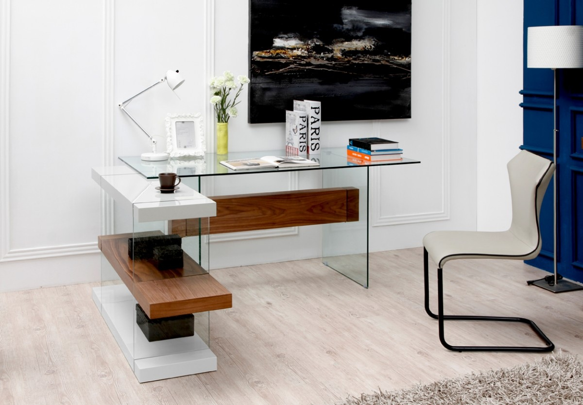 Glass Desk In White And Walnut With A Shelving Unit New
