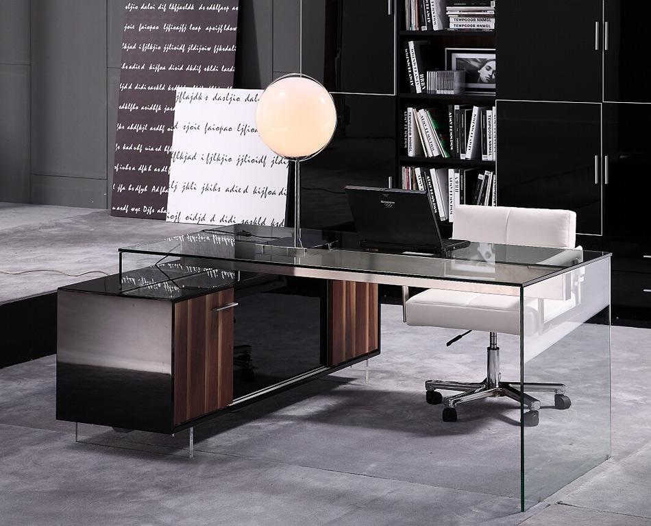 Contemporary office desk with thick acrylic cabinet support legs columbus ohio v alaska - Modern home office furniture ...
