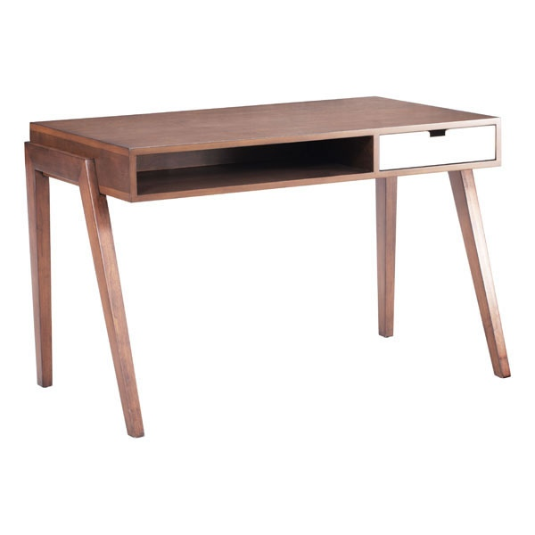 Contemporary Wooden Office Desk in Walnut Finish with Storage Drawer