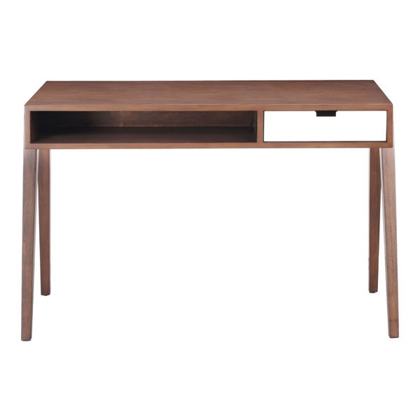 Contemporary Wooden Office Desk in Walnut Finish with ...