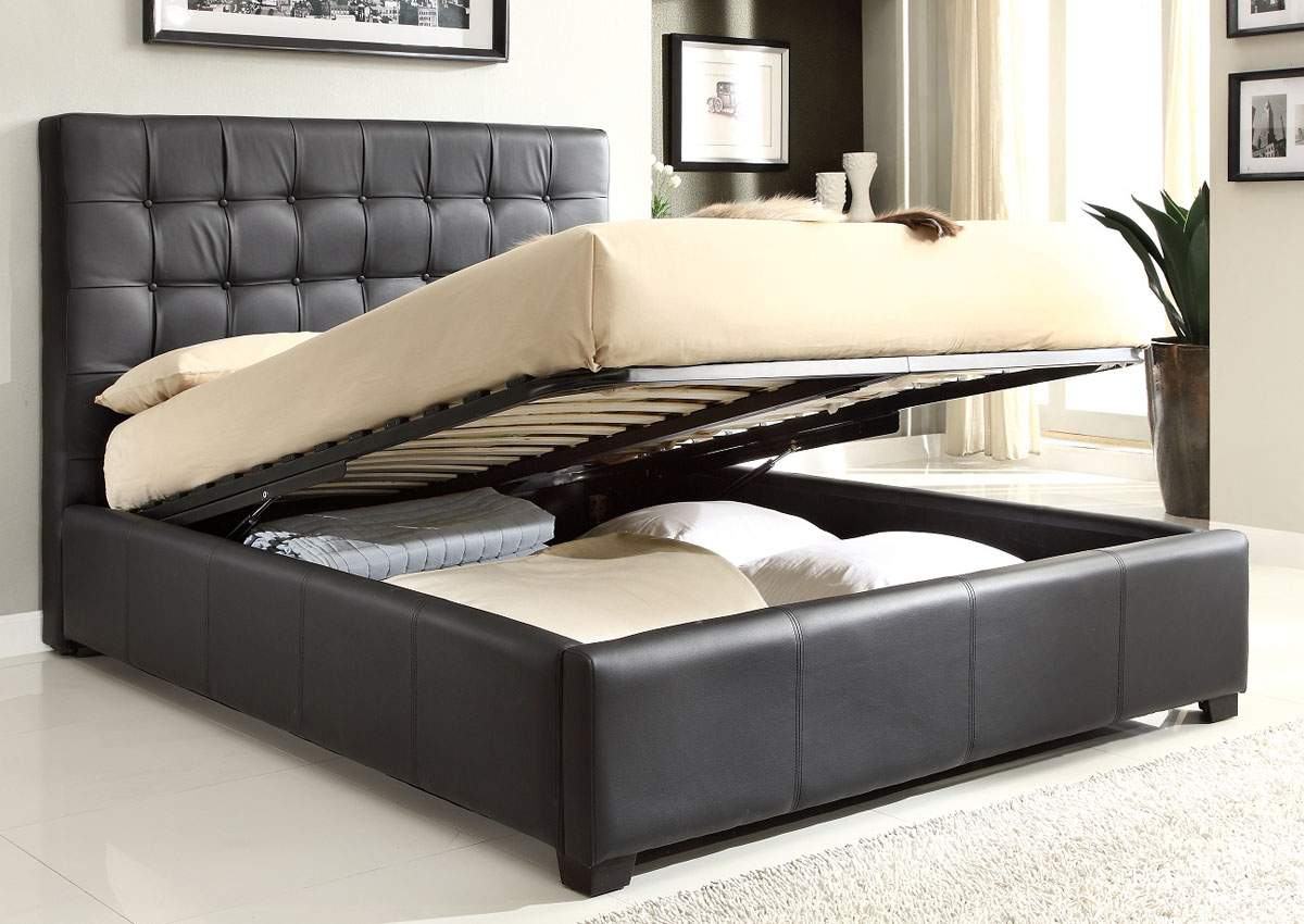 Stylish leather high end platform bed with extra storage for Bedroom furniture beds