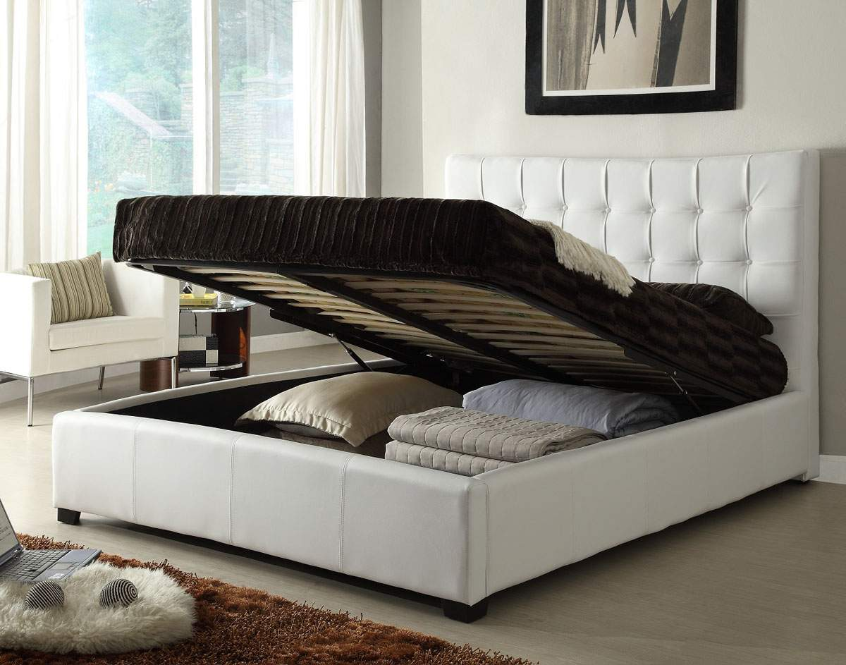 Stylish leather elite platform bed with extra storage for White bedroom set with storage