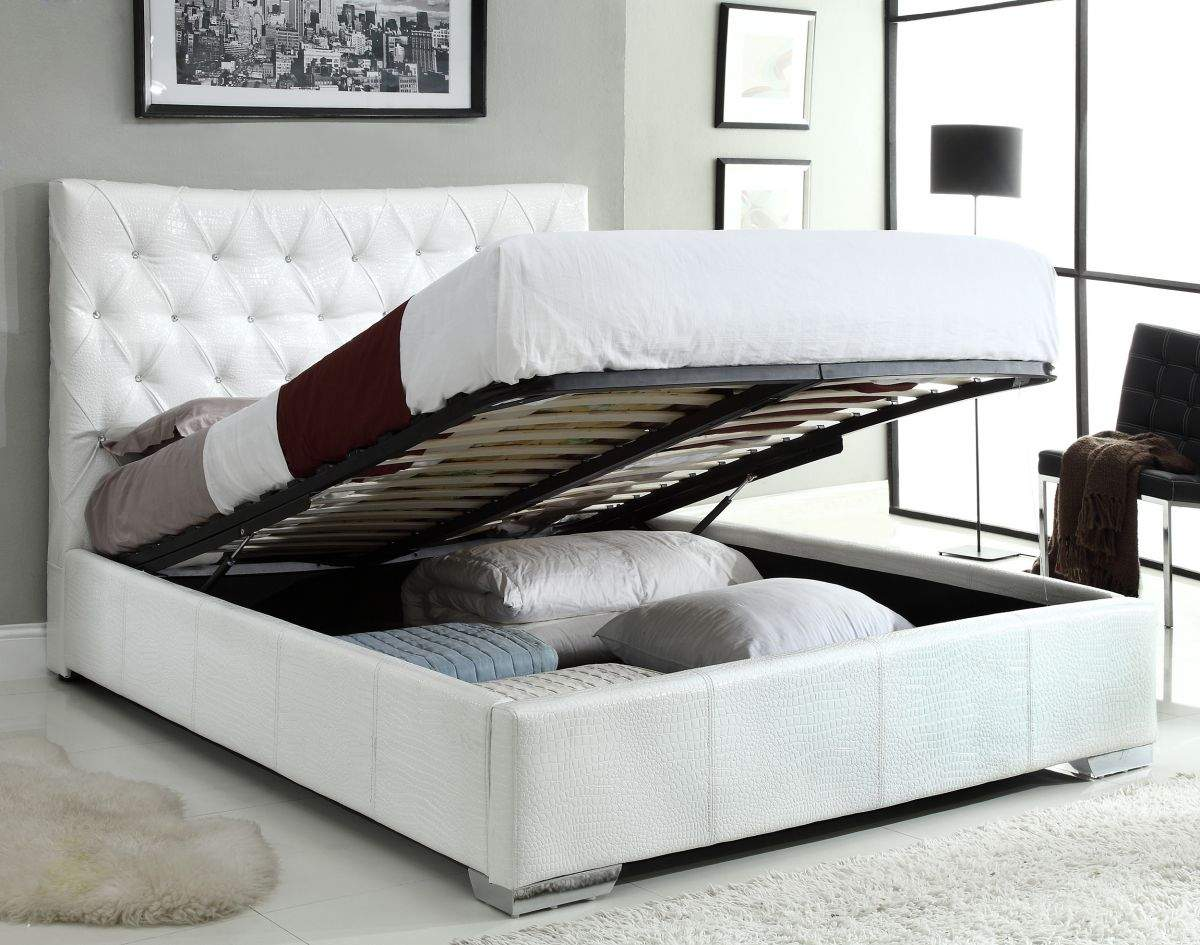 larger image. exclusive leather high end platform bed with extra storage newark