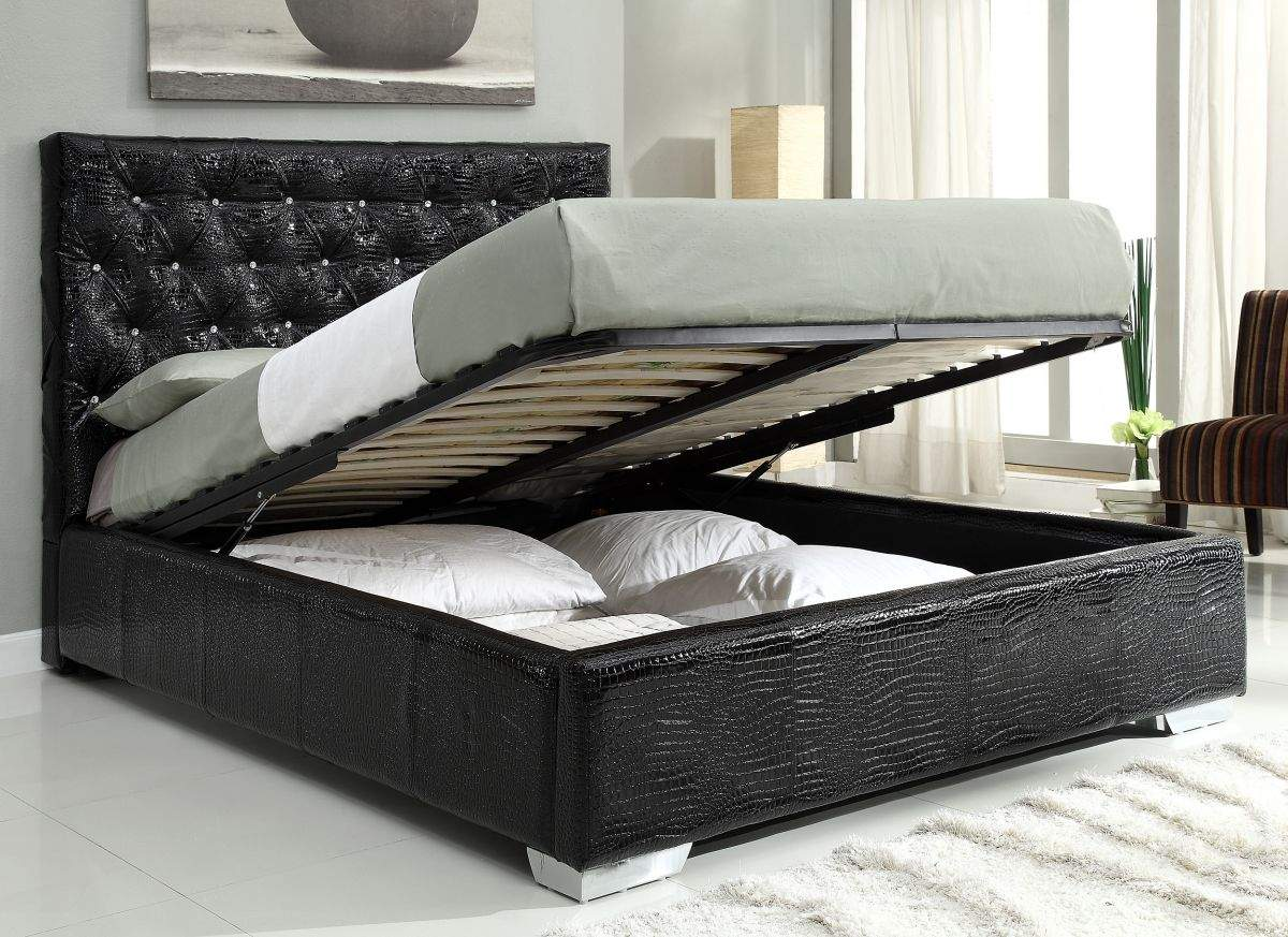 Exclusive leather high end platform bed with extra storage for Bed furniture design catalogue
