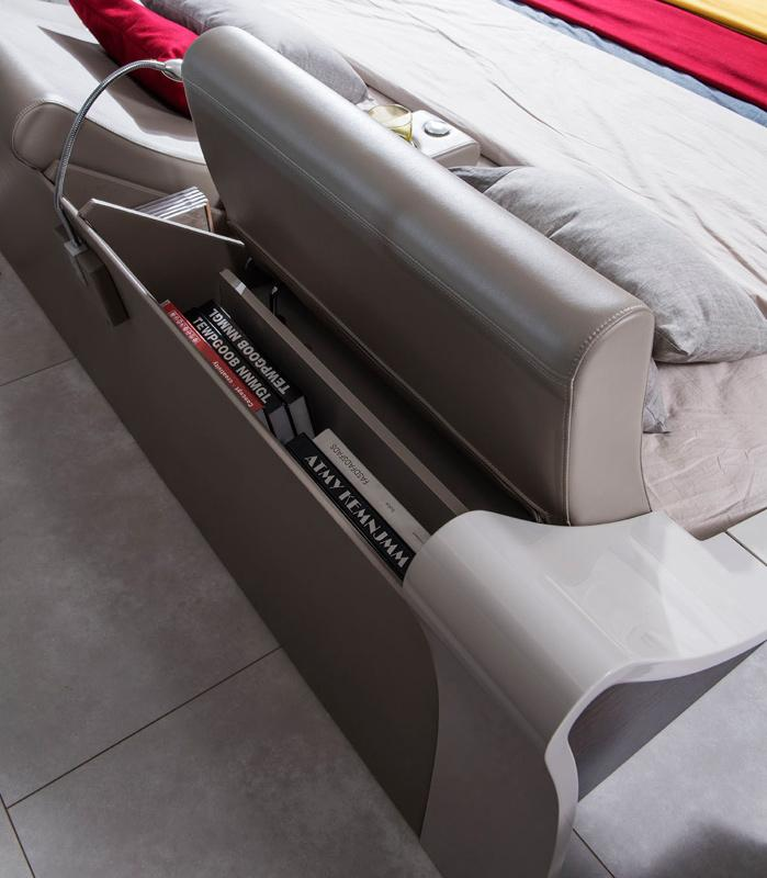Lacquered Graceful Leather Elite Platform Bed Miami