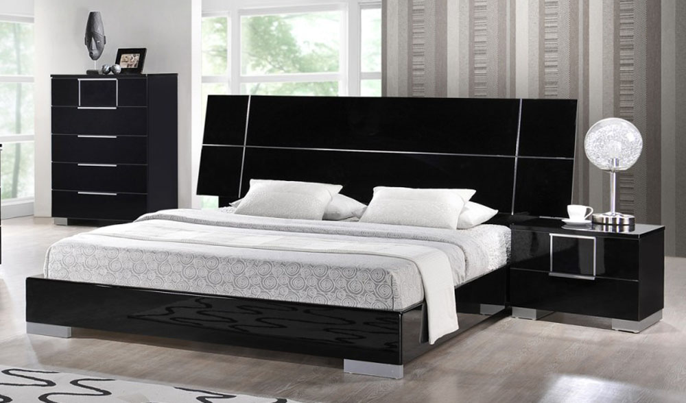 black and red lacquered wood high end platform bedroom | Lacquered Exotic Wood Platform and Headboard Bed Boston ...
