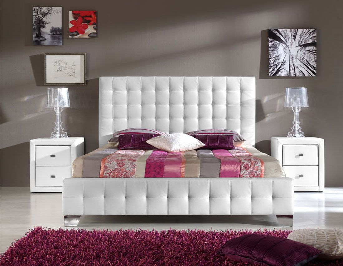 Bedroom with White Leather Tufted Headboard 1100 x 855