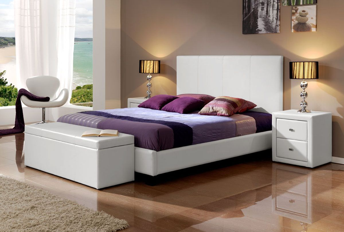 Made in spain leather luxury platform bed fort worth texas - Ambiance chambre adulte ...