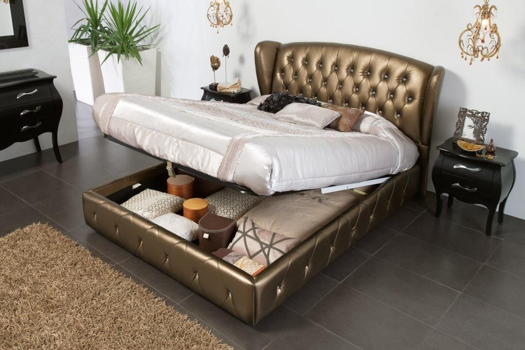 Made In Spain Leather Modern Platform Bed With Extra