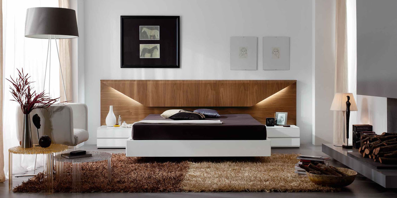 Modern platform bedroom sets - Lacquered Made In Spain Wood Platform And Headboard Bed
