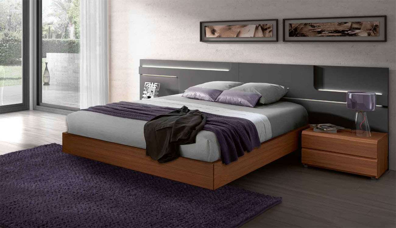 Lacquered made in spain wood high end platform bed with lights san antonio texas gc504 Chambre a coucher lit king size