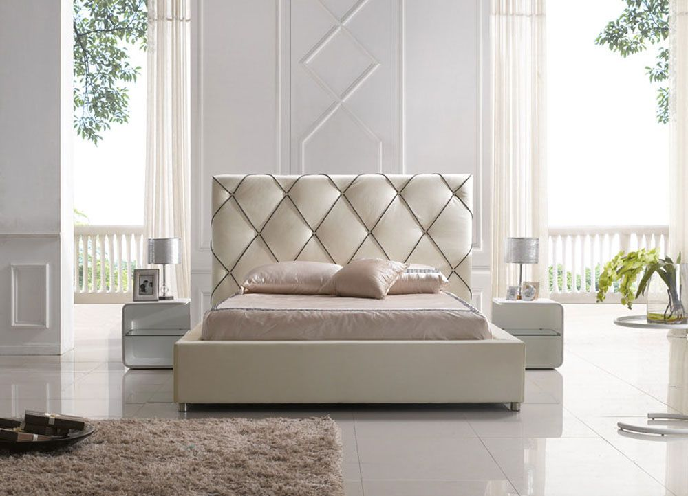 Elegant leather high end platform bed with led light for Design of bed furniture