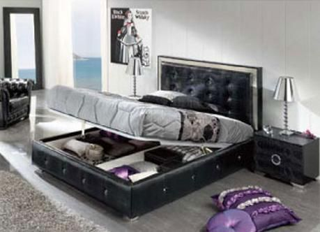 Made in Spain Leather High End Platform Bed with Extra