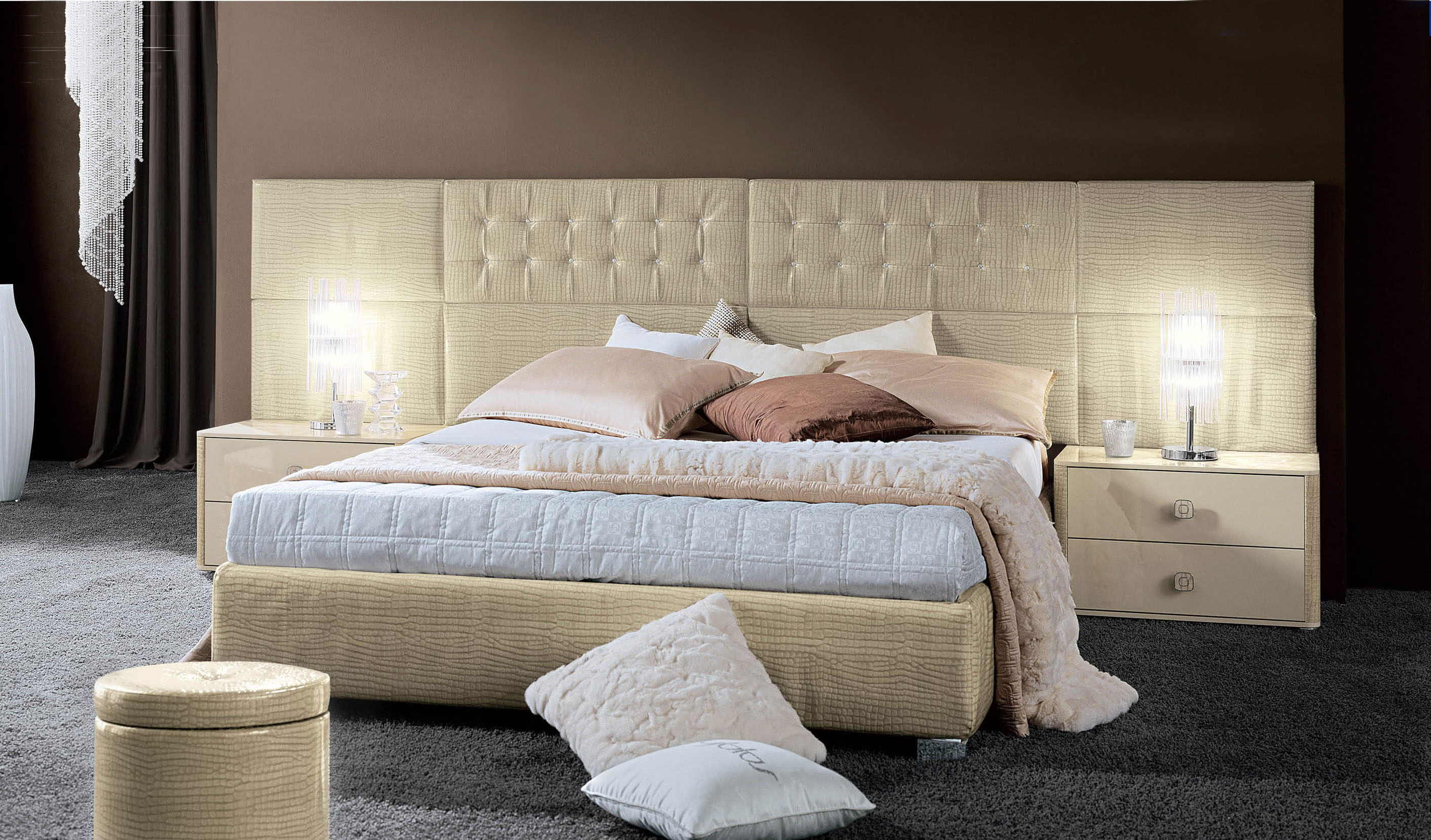 Elegant Leather Platform And Headboard Bed Yonkers New