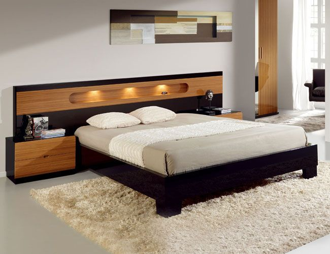 Lacquered Made in Spain Wood Modern Platform Bed with ...