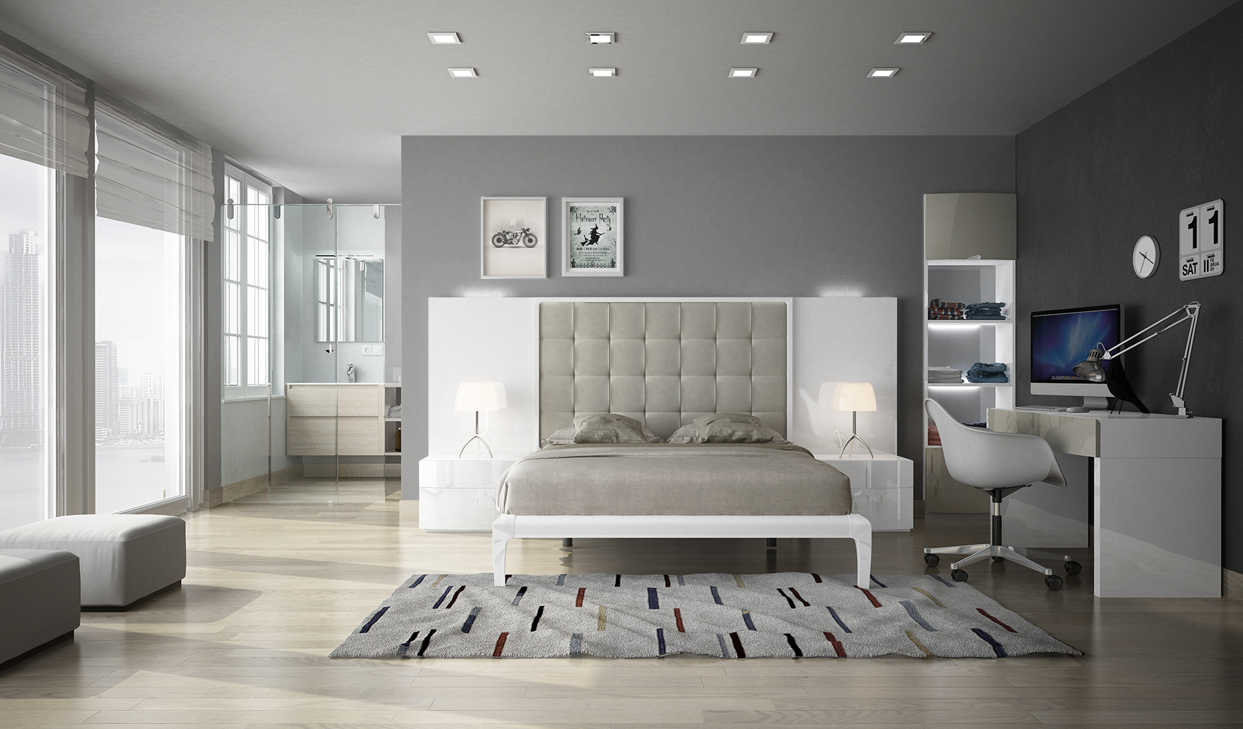 Exclusive wood platform bedroom sets in high gloss lacquer for Exclusive beds