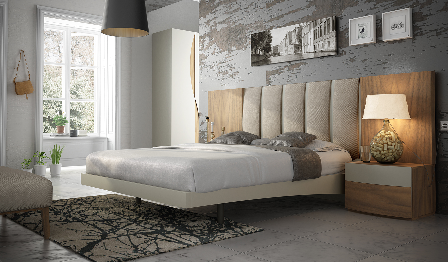 Unique wood high end platform bed cleveland ohio fenicia for Cool high beds