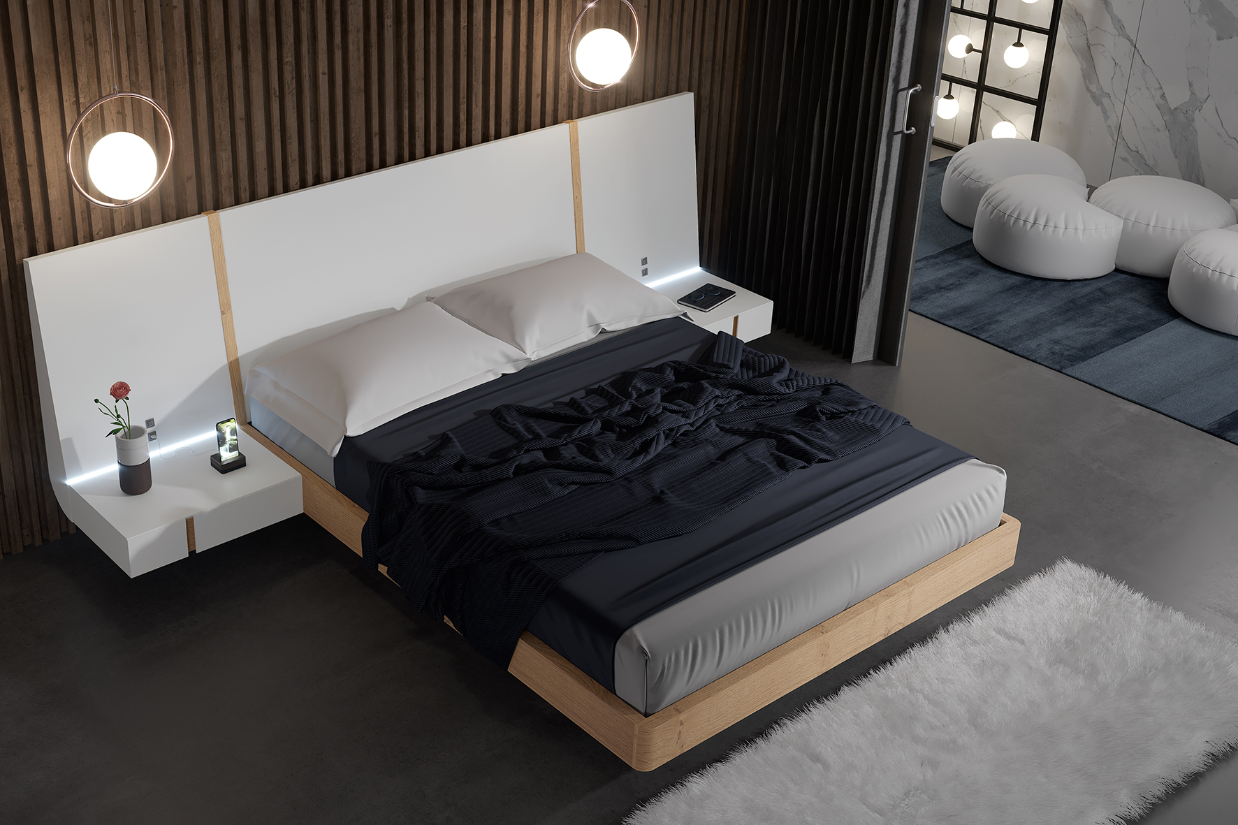 Exclusive Wood High End Platform Bed with Drawers Jackson ...