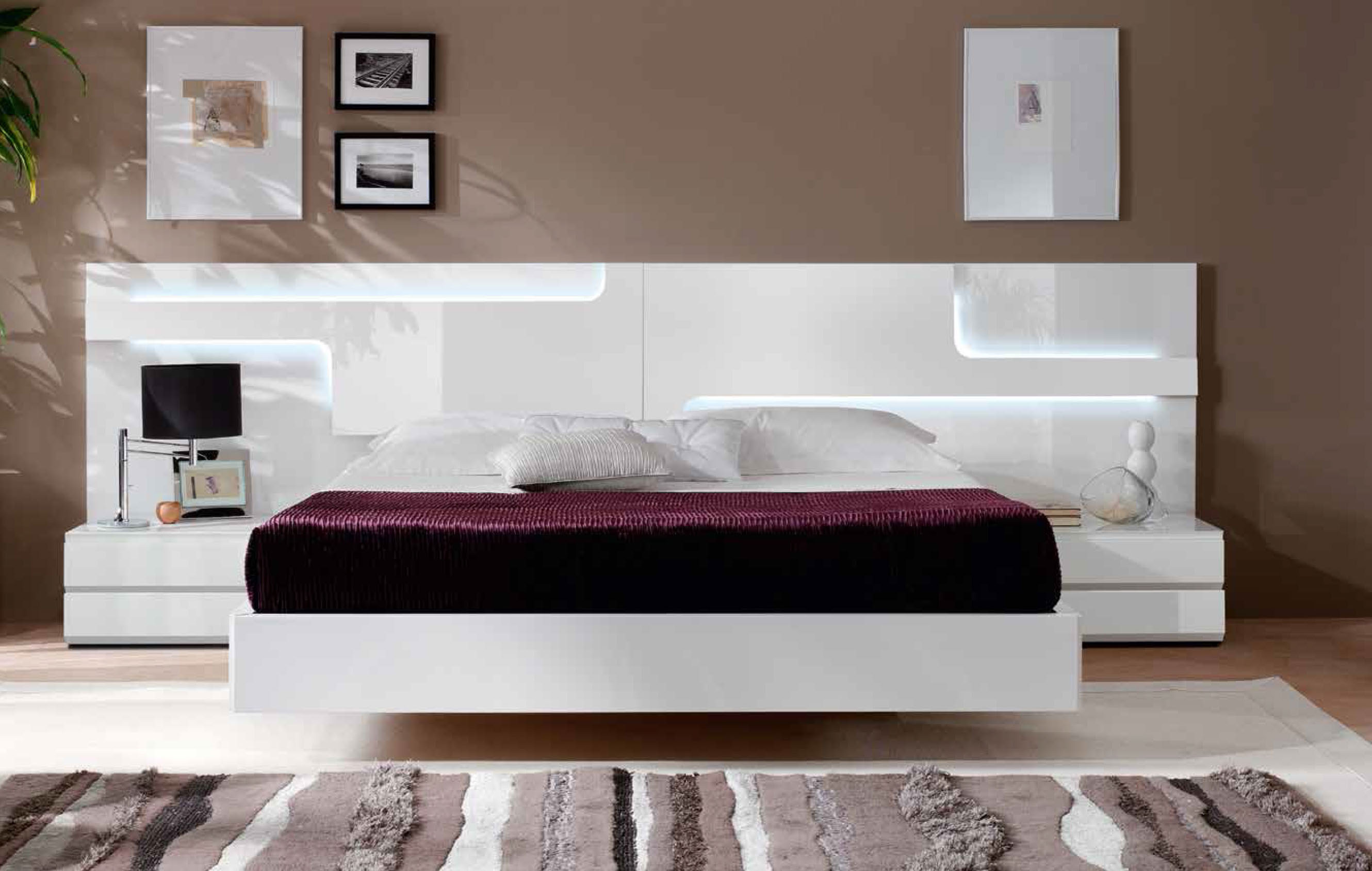 Modern Platform Beds  Master Bedroom Furniture. Lacquered Made in Spain Wood Platform and Headboard Bed with Extra