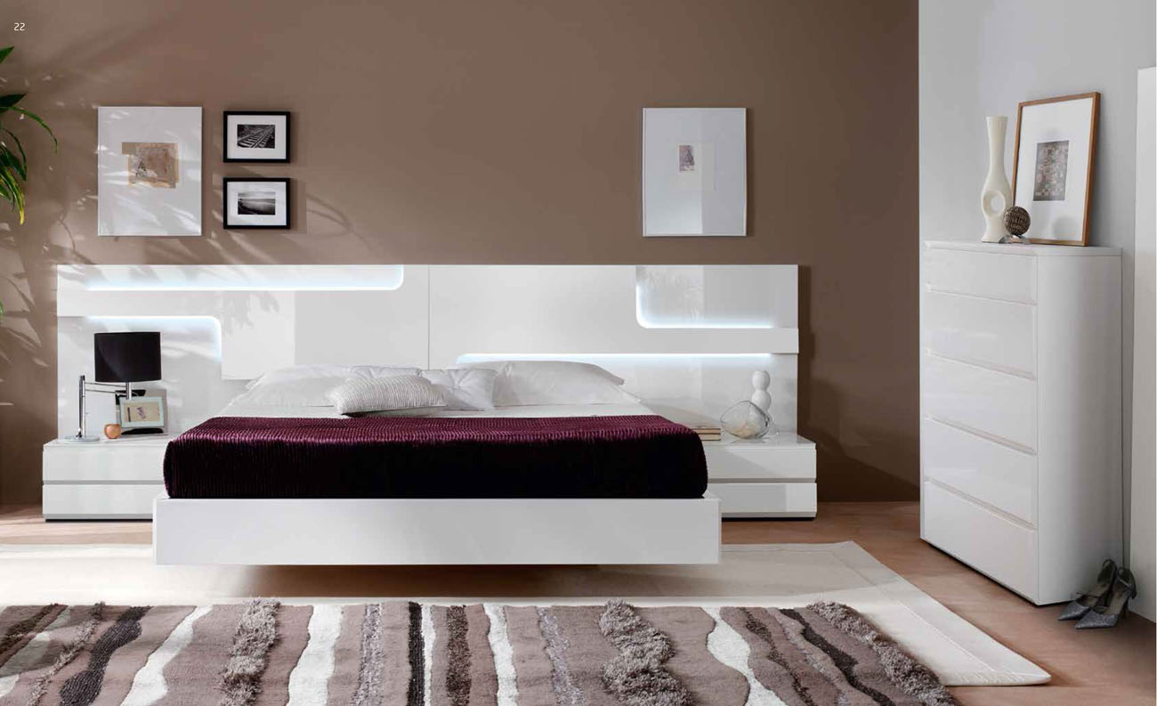 Lacquered made in spain wood platform and headboard bed for White bedroom set with storage
