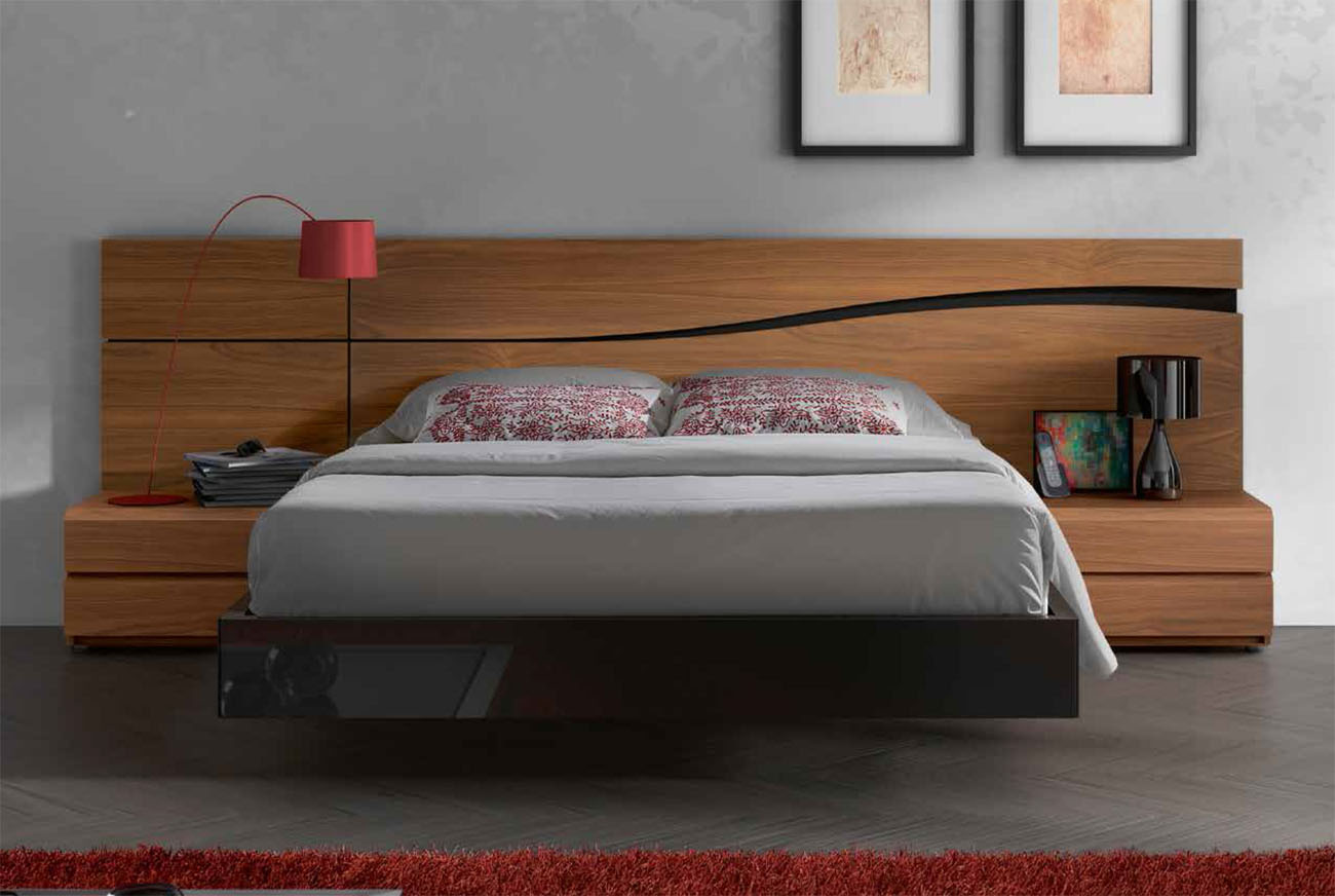 Lacquered made in spain wood high end platform bed with for Bed design ideas furniture