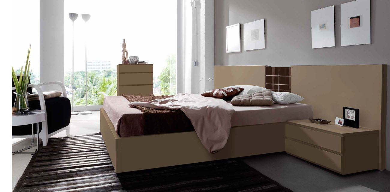 Lacquered made in spain wood platform and headboard bed for Modern bedhead design