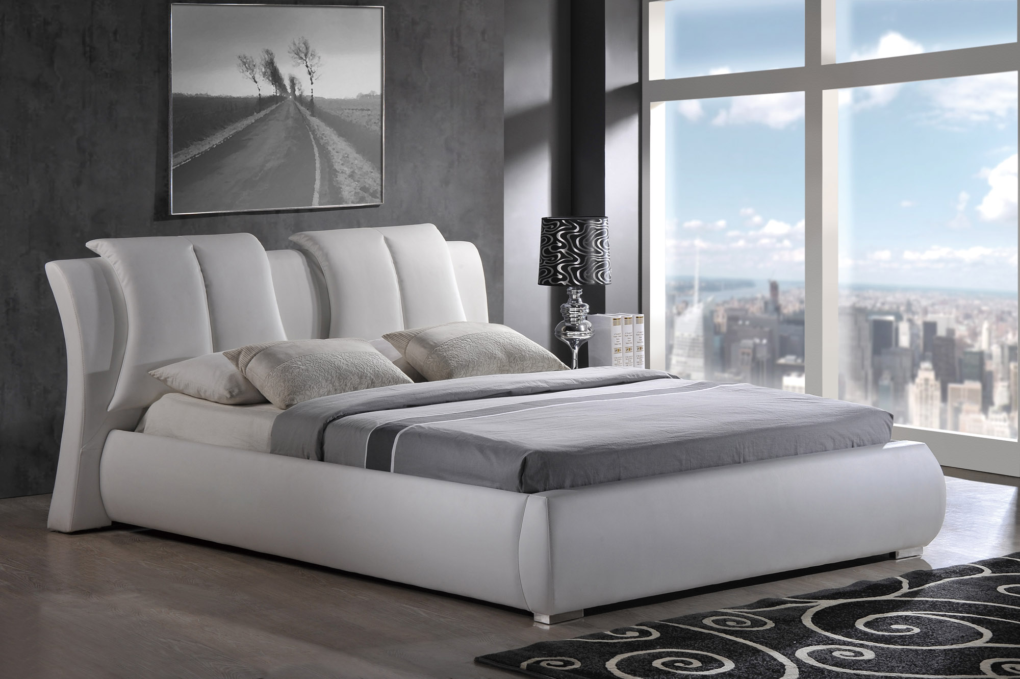 High class leather luxury platform bed new york new york for Bedroom set and mattress