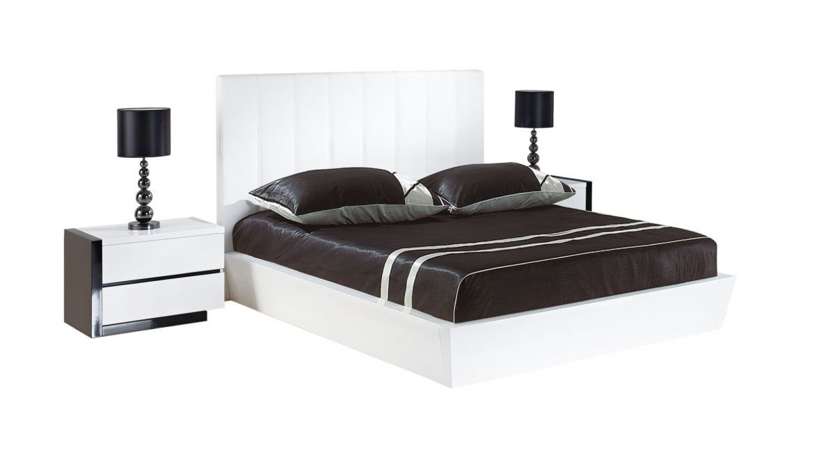 Modern White Leather Platform Bed 1200 x 647