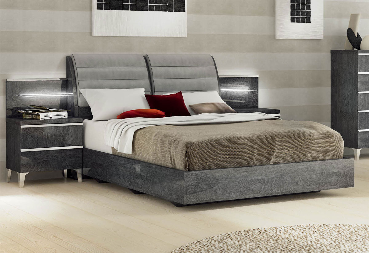 Lacquered made in italy wood elite platform bed with extra storage austin texas esfeli Best time to buy bedroom furniture on sale