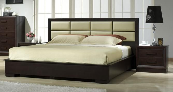 Unique leather platform and headboard bed fort wayne for Leather headboard designs