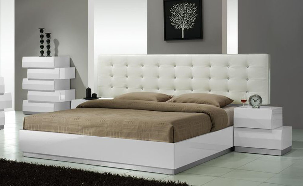 lacquered exclusive leather luxury platform bed newport