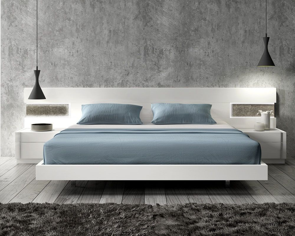 Lacquered graceful wood luxury platform bed with long for Designer inspired bedding