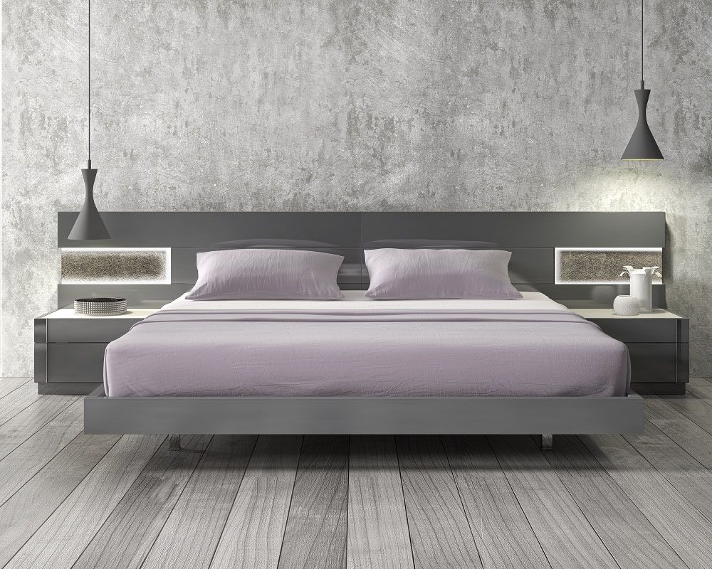 Lacquered stylish wood elite platform bed with long panels for Furniture bed design
