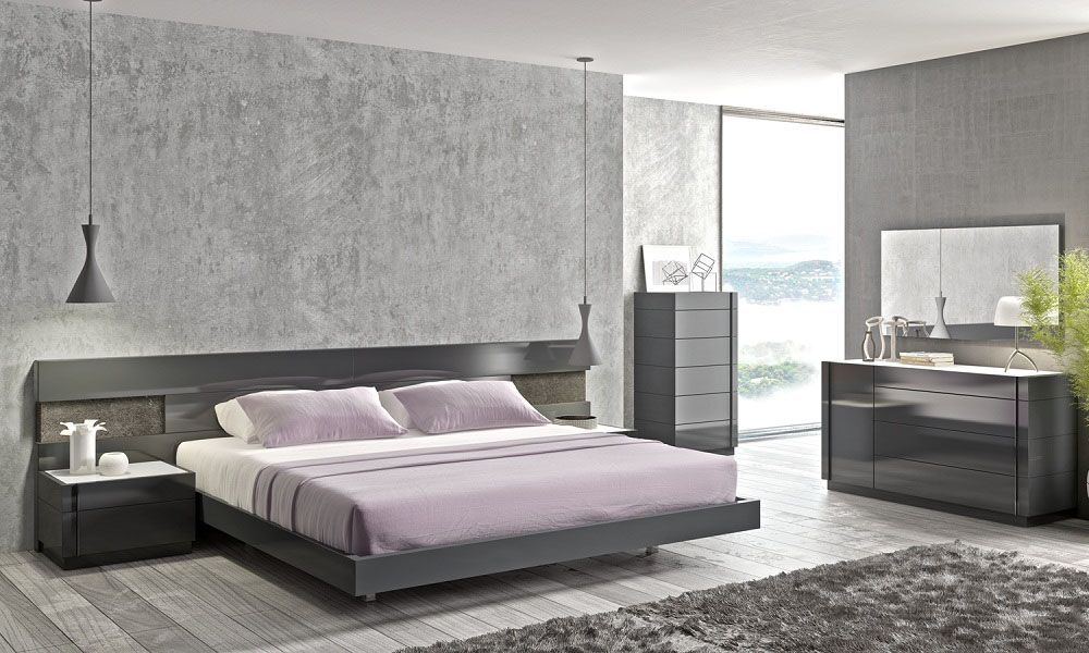 Lacquered Stylish Wood Elite Platform Bed With Long Panels