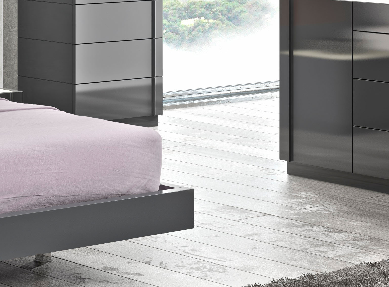 lacquered stylish wood elite platform bed with long panels. Black Bedroom Furniture Sets. Home Design Ideas