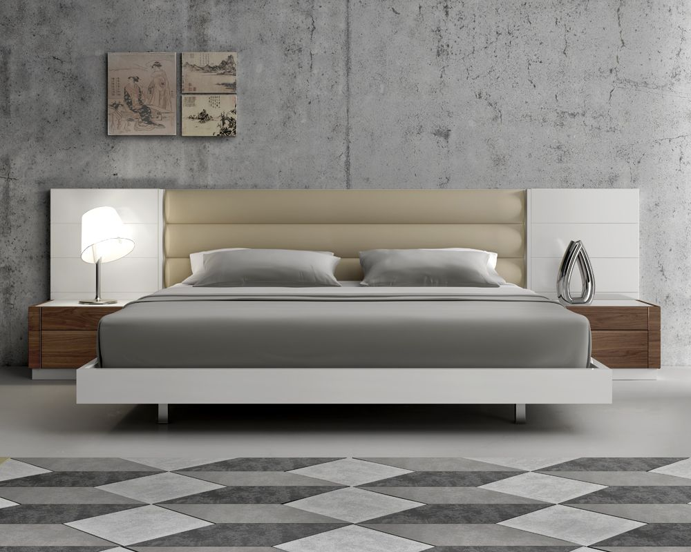 Lacquered extravagant leather modern platform bed with for Design of bed furniture